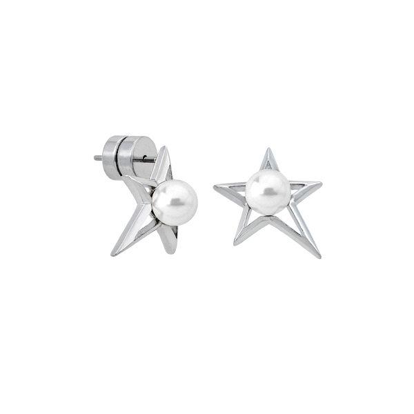 Pendientes de perlas Rock Star en acero
