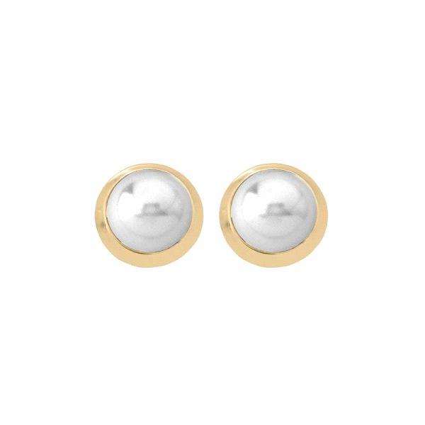 Pendientes de perla con orla dorada