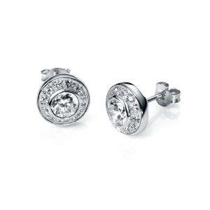 Pendientes plata circonita y cristal