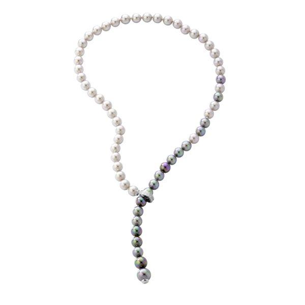 Collar ajustable con perlas bicolor