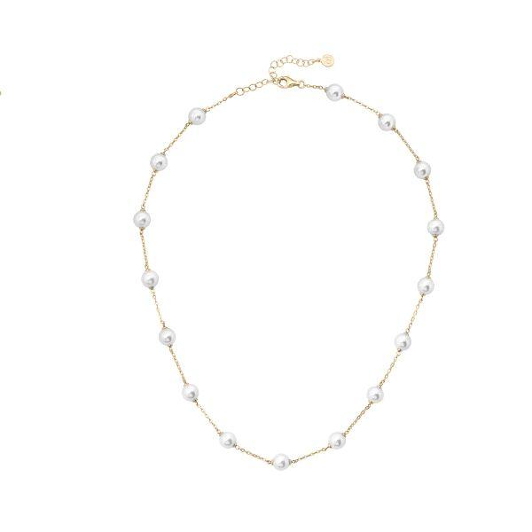 Collar corto con perlas 8mm de 45cm+5 cm