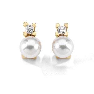Pendientes Tu & Yo con perla y circonitas
