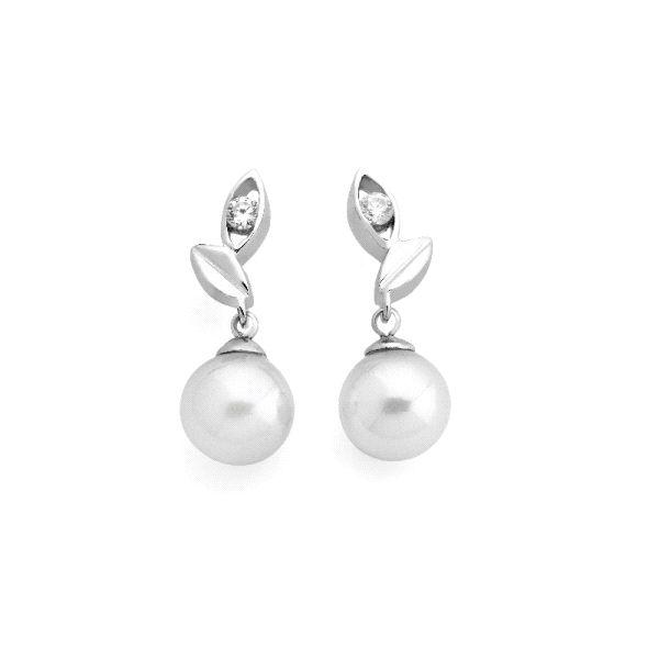 Pendientes de plata de hoja con perlas