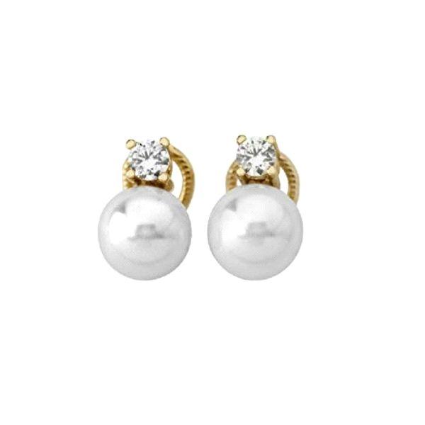 Tu y Yo omega con perla10mm plata dorada