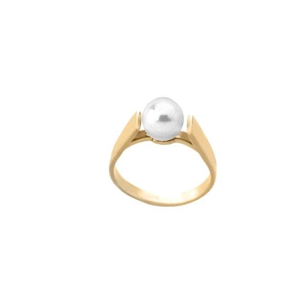 Anillo de plata dorado con perla 10mm