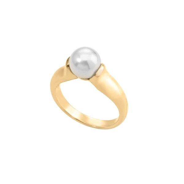 Anillo cerrado de plata dorada con perla