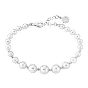 Pulsera Mujer de plata con perlas escalonadas
