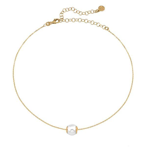 Gargantilla de plata dorada y perla 10mm