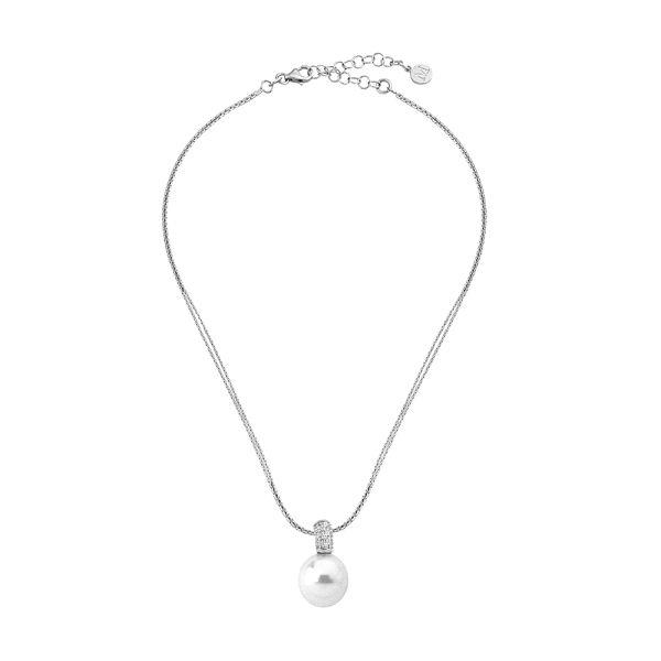 Colgante de perla con circonitas plata