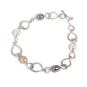 Collar Mujer eslabones con perlas barrocas