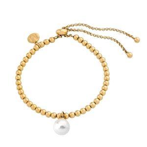 Pulsera de mujer dorada con perla ajustable