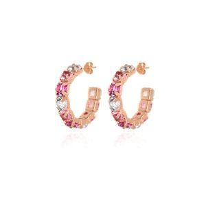 Pendientes criolla Elise oro rosa con cristales