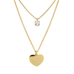 Gargantilla Layered corazón plata dorada