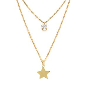Gargantilla Layered estrella de plata dorada