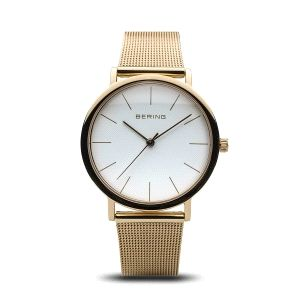 Reloj mujer dorado de malla milanesa