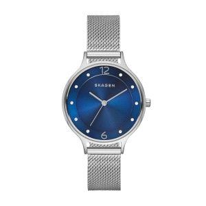 Reloj Anita Medium con esfera azul y malla milanesa
