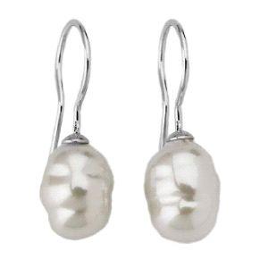 Pendientes de plata con perla blanca
