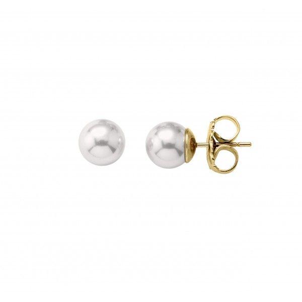 Pendientes perla 4mm en plata dorada