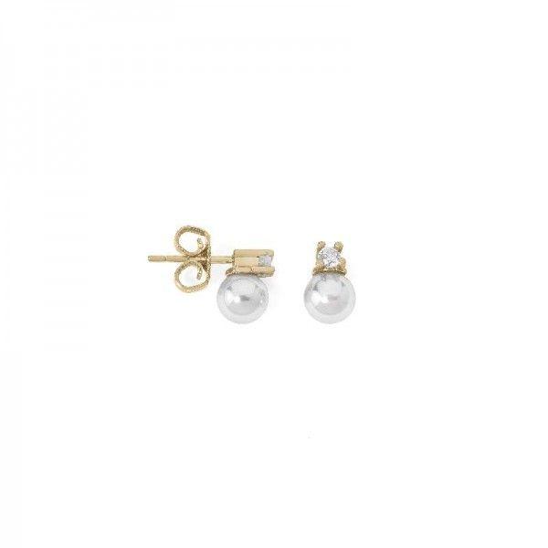 Pendientes perla 6mm con circontas