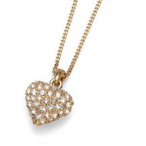 colgante Full Heart Dorado Cristal