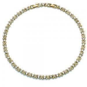 collar Fleur Dorado Cristal