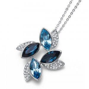 colgante Leaf Rodio Blu
