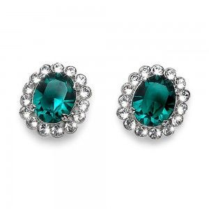 pendientes Genuine Rodio Emerald