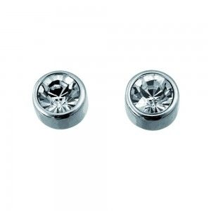 pendientes Single Rodio Cristal