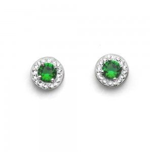 pendientes Clear 925ag Rodio Emerald