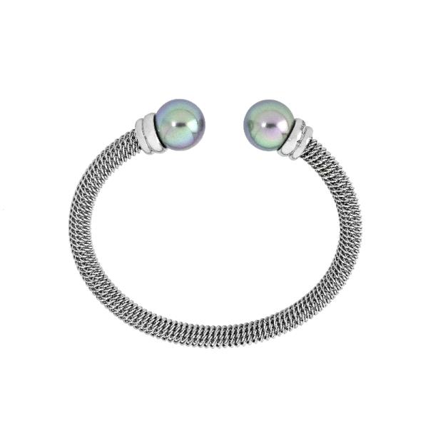 Brazalete rigido con dos perlas grises