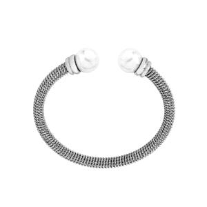 Brazalete mujer Tender de acero con perlas