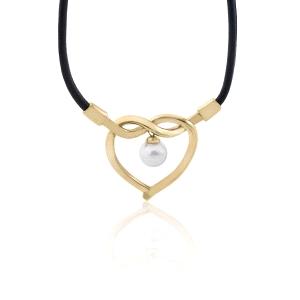 Gargantilla mujer Amour de cuero con perlas