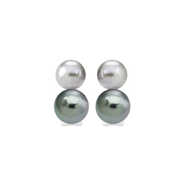 Pendientes de plata doble perla gris