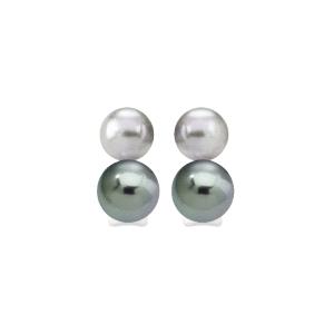 Pendientes de doble perla gris y nuage