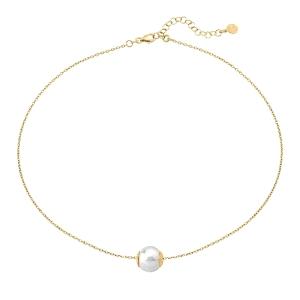 Gargantilla Nuada de plata dorada con perla 12mm