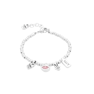Pulsera mujer I am waiting 4 U Pink con charms