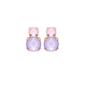 Pendientes plata doble piedra rosa y lila