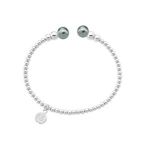 Pulsera rigida Atlas con perlas gris