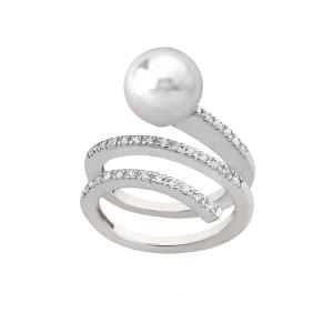 Anillo SCHERZO de plata con perla y circonita