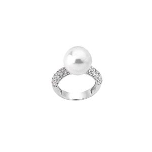 Anillo de perlas SOFIA con circonitas
