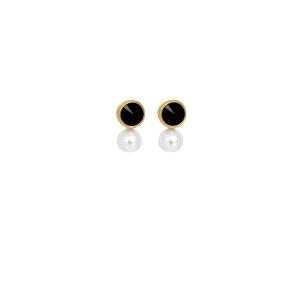 Pendientes MANACOR perla y swarovski negro