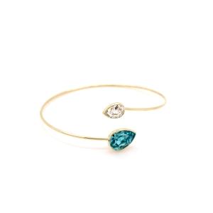 Pulsera de caña lágrima doble Crystal Light Turquoise con baño de oro