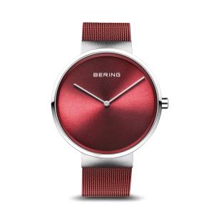 Reloj mujer Rojo con malla milanesa