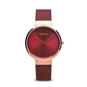 Reloj mujer Rojo de malla milanesa y oro rosa