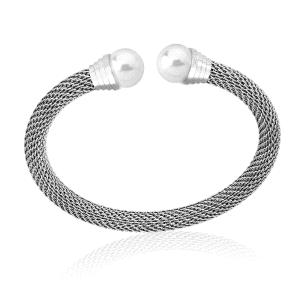 Brazalete de acero con perla blanca
