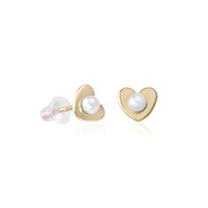 Pendientes dorado botón mini corazón con perla