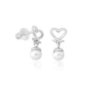 Pendientes perla Mini Corazón Monica Cruz