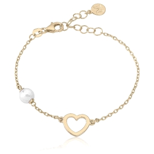 Pulsera de plata MINI CORAZON dorado Monica Cruz