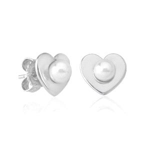 Pendientes plata Monica Cruz de botón en corazón
