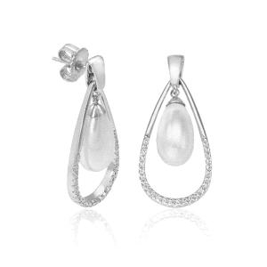 Pendientes plata largo con perla y circonitas